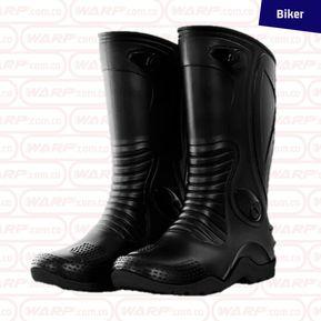 1155894eca0 Botas PVC tipo Moto Impermeable Negra suela Gris Biker