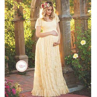 Vestido De Encaje Maxi Para Las Mujeres Embarazadas Beige