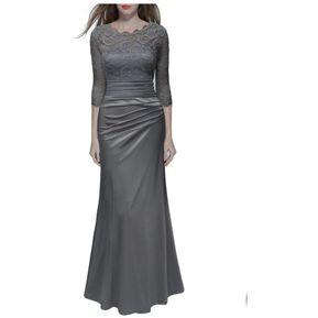 c84b8f768 Vestido De Noche Vestidos Mujer Largo Elegante Gris