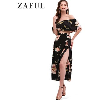 5af9e85b1 ZAFUL Floral Print Cropped Top and Maxi Skirt Set-NEGRO