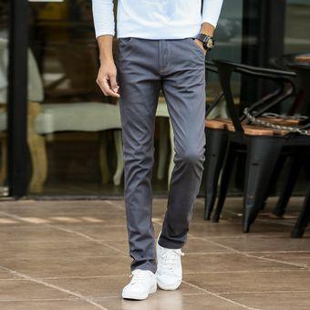 Primavera Verano Moda Hombres Casual Pantalones 100 Algodon Elastico Slim Pantalones Largos Hombres Moda Coreana Casual Wear Pantalones Hombre Deep Grey Linio Peru Un055fa0t2ohtlpe
