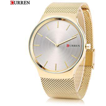 3C Curren 8256 Hombre Reloj De Cuarzo Simple Dial De Acero Inoxidable Net  Band Reloj De 3b660b18e66a
