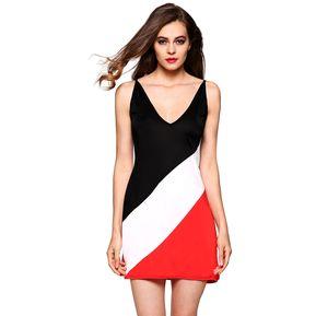 Vestido Escote Patchwork Para Mujer-Multicolor 4807906472f8