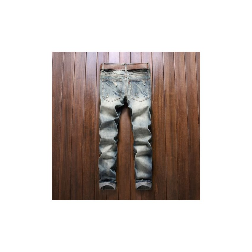 Pantalones De Mezclilla Para Hombre Moda Masculina Botones De Parche De Color Delgado Pantalones Rectos Mosca