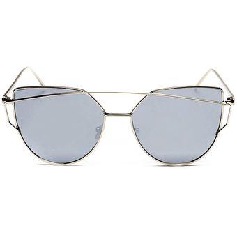 f20fc1e87f EH Navidad Gato Gafas De Sol Reflectantes-Marco De Plata Mercurio Blanco