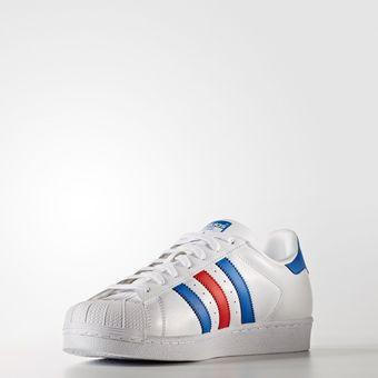 online retailer 7df1b 70465 Agotado Tenis Adidas Superstar Hombre Franjas Azules Y Rojas