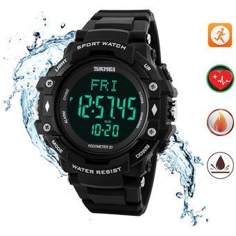 09b653a1f93b Relojes Hombre Podómetro Reloj Ritmo Cardiaco SKMEI Impermeable Deportivo  Reloj Contador De Calorías (Negro)