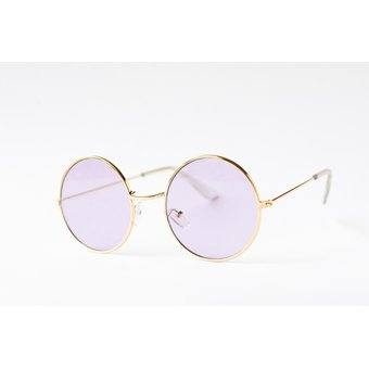 5153495ece Lentes de Sol John Lennon Redondos Marco Dorado cristales Lila claro