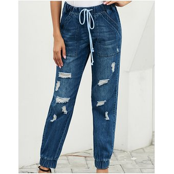 Moda Streetwear Jeans De Mujer Casual Jogger Pantalones Sueltos De Cintura Alta Con Cordon Rasgado Jeans Azul Linio Peru Ge582fa1f1iaklpe