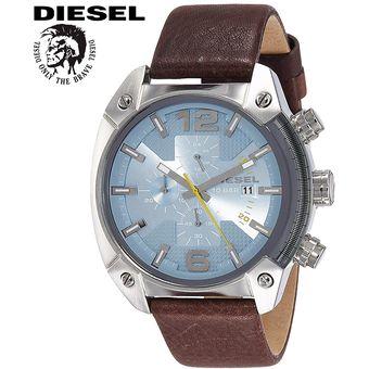 4d2c95f5f7b3 Reloj Diesel Overflow DZ4340 Cronometro Acero Inox Correa De Cuero Marrón