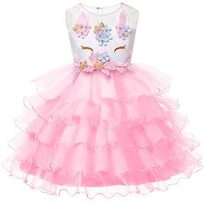 1861e2f323eb Unicornio Vestido para Niñas Vestidos de Princesa - Rosa
