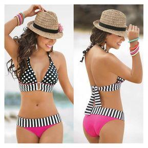 Vestido De Baño Bikini Halter De Puntos E-Ihome Para Mujer-Negro 77419da8b81