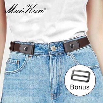 Cinturones Para Mujer Cinturon De Lona Unisex Para Vestidos Pantalones Vaqueros Sin Hebilla Cinturon De Elasticidad Elastica De La Cintura Para Mujer Coffee Linio Colombia Ge063fa137el5lco