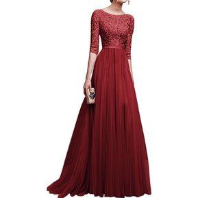 153c83c38 Vestido Casual Generico Gasa Vestido Falda larga - Rojo