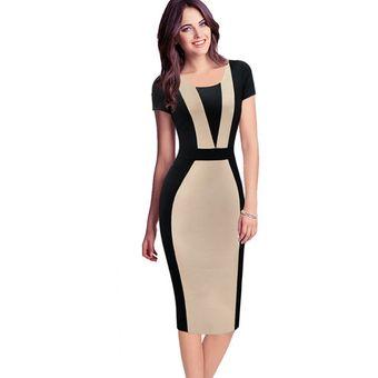8089435277 Agotado Vestido De Oficina Para Las Señoras Mujeres Elegante Vintage  Contraste Colorblock Delgado Cinturón Patchwork Casual Desgaste