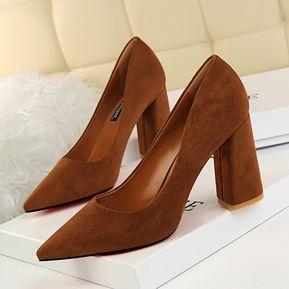 f924226b Zapatos de tacón alto en punta de mujer gruesa sencilla con gamuza