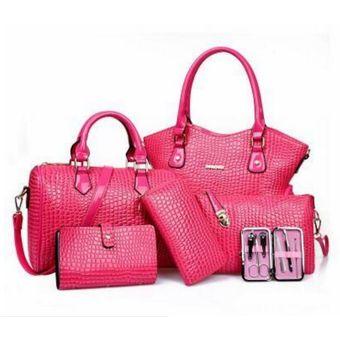 1ac814373 El más nuevo bolso de hombro solo colgado más barato, seis piezas rosa