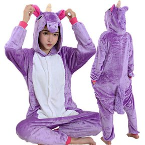 6cea3e9171 Pijama Mameluco De Unicornio Tipo Kigurumi Cosplay Morado