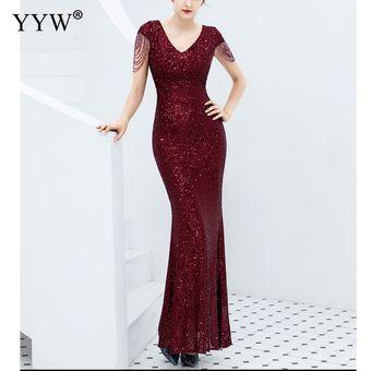 Vestido De Noche Con Lentejuelas De Lujo Para Mujer Con Cuello En V