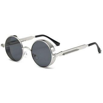 728da2a74c Bastidor Redondo Vintage gafas de sol Anti-ultravioleta anteojos de Moda  Mujer Hombre Plata y
